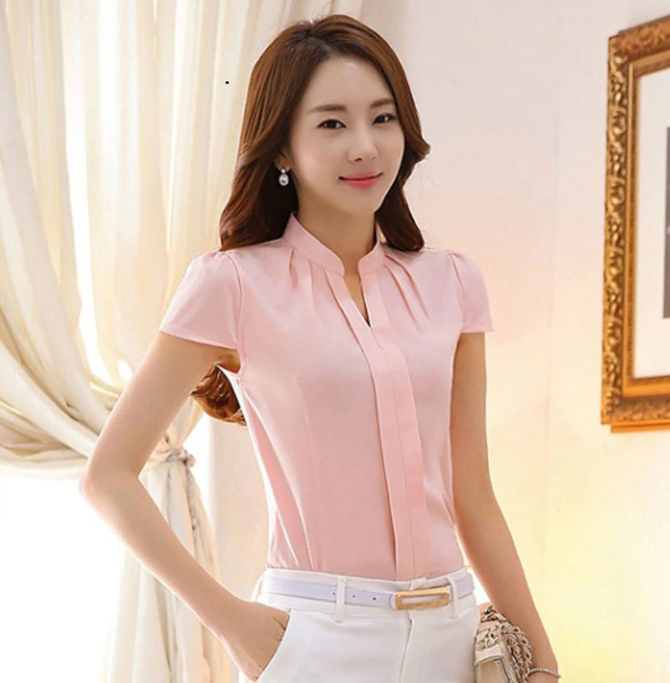 Women Chiffon Shirt Elegant Solid Color Short Sleeve Women Tops Blusas