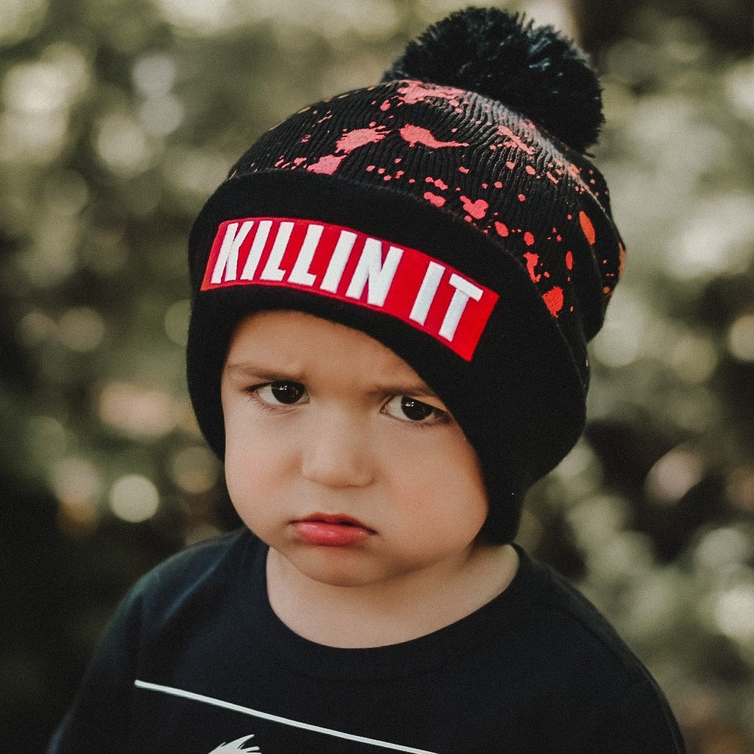 KILLIN IT Kids / Adult Beanie Hat BLACK RTS