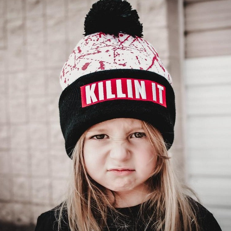 KILLIN IT Kids / Adult Beanie Hat WHITE RTS