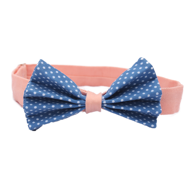 Cobalt Polka Dot Pleated Bow Tie