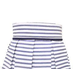 close up of nautical striped pleated skirt
