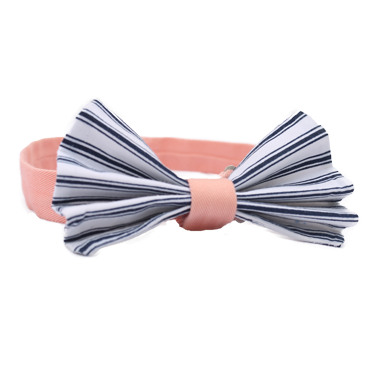 Navy Striped Pleated Bow Tie