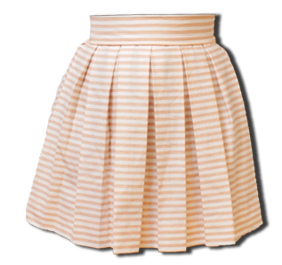 Peach Striped Sweet Pleat Skirt