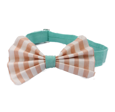 Peach Striped Pleated Bow Tie