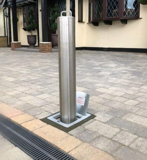 Brushed Steel Telescopic Security Post / Bollard (90mm x 670mm) Best Seller
