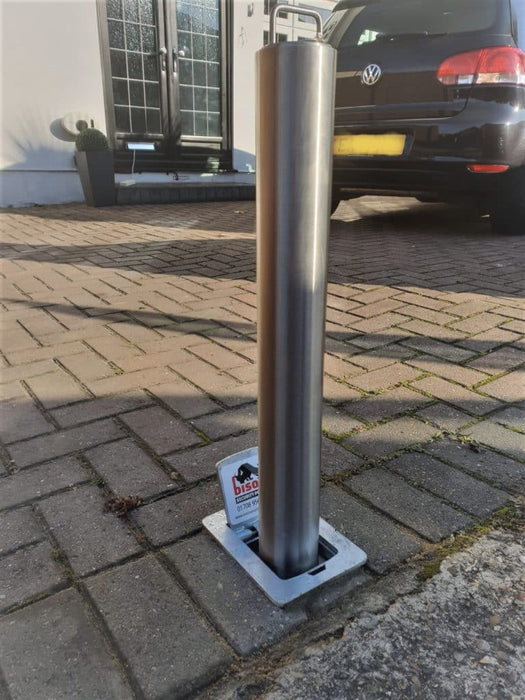Brushed Steel Telescopic Security Post / Bollard (76mm x 580mm)
