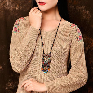 Fashion Vintage National wind sweater chain tassel pendant woodiness necklace