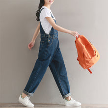 Load image into Gallery viewer, Casual vintage washed denim overalls