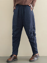 Load image into Gallery viewer, Women's Stripe Irregular Pleated Harem Pants