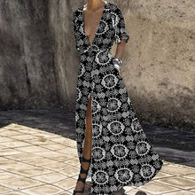 Load image into Gallery viewer, Deep V-Neck Bohemian Printed Vacation Dress