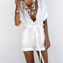 Load image into Gallery viewer, Fashion Solid Color V-Neck Tie Romper