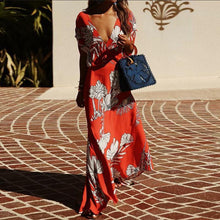 Load image into Gallery viewer, Casual Sexy Deep V   Neck Floral Print Maxi Dresses
