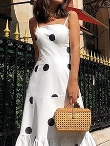 Sexy Polka Dot Sling Sleeveless Maxi Dresses