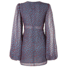 Load image into Gallery viewer, Women's Sexy Deep V Print Polka Dot Puff Sleeve Slim Dresses