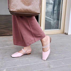 Comfortable Low Heel And Square Head Slipper