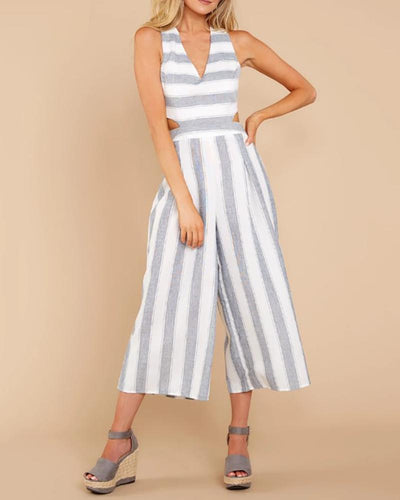 Sexy Deep V Striped Wide Leg Jumpsuit