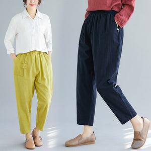 Women's retro buckle cotton and linen loose slacks