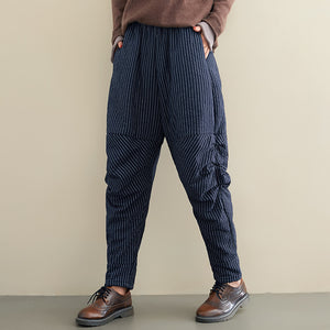 Women's Stripe Irregular Pleated Harem Pants