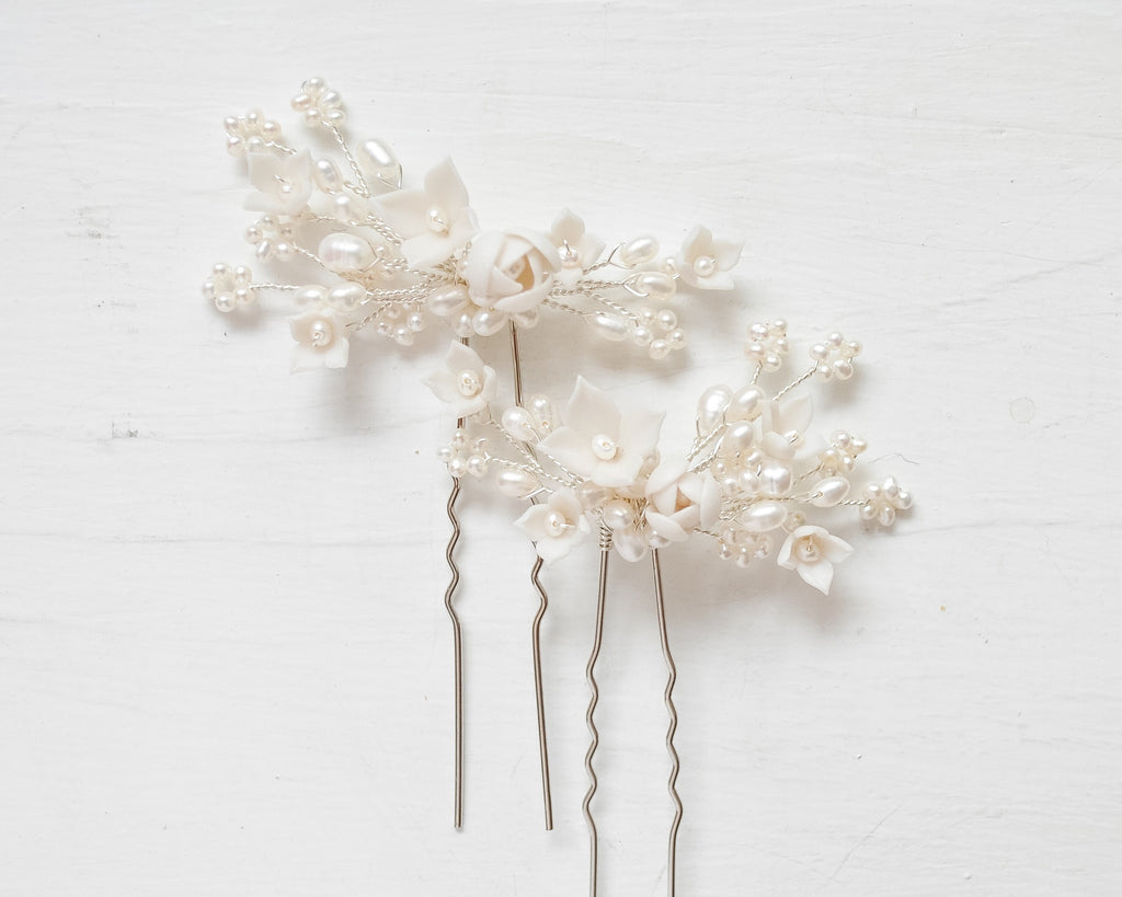 Small Floral Freshwater Pearl Hair Pins - Sarah Walsh Bridal Jewellery