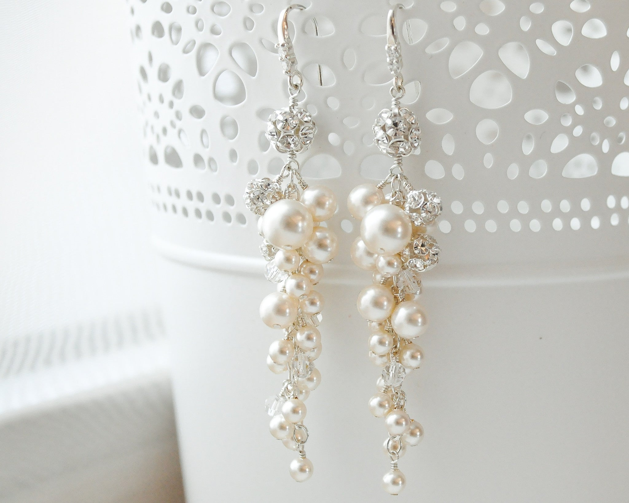 Bridal Pearl & Crystal Statement Earrings - Sarah Walsh Bridal Jewellery - 1