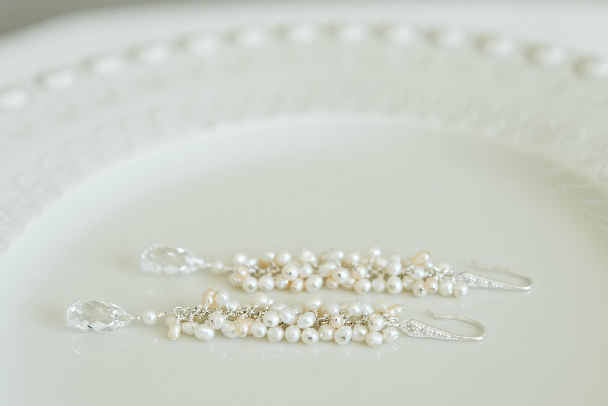 Long Clustered Freshwater Pearl Bridal Earrings - Sarah Walsh Bridal Jewellery - 2