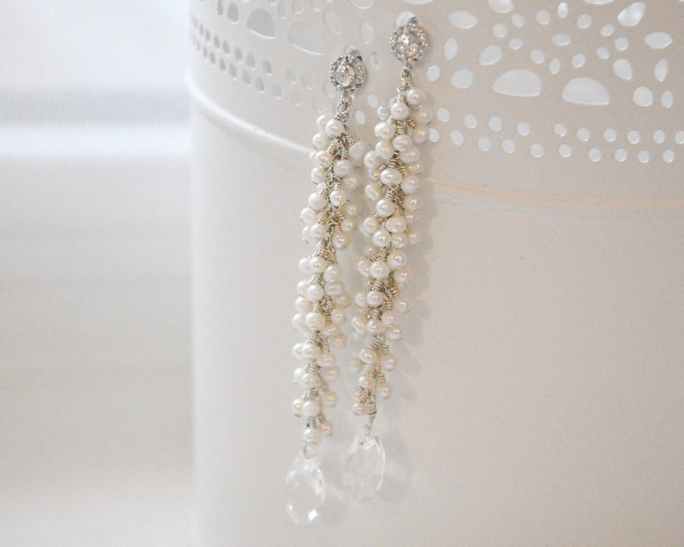 Long Clustered Freshwater Pearl Bridal Earrings - Sarah Walsh Bridal Jewellery - 3