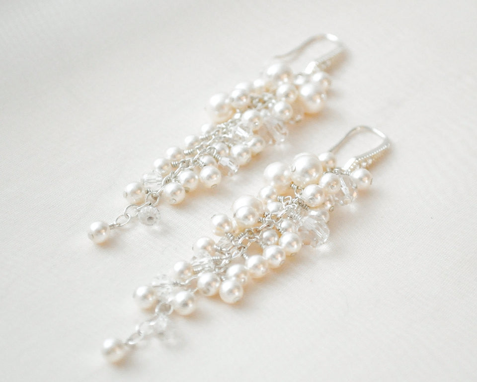 Bridal Crystal Pearl Tapered Cluster Earrings - Sarah Walsh Bridal Jewellery - 1