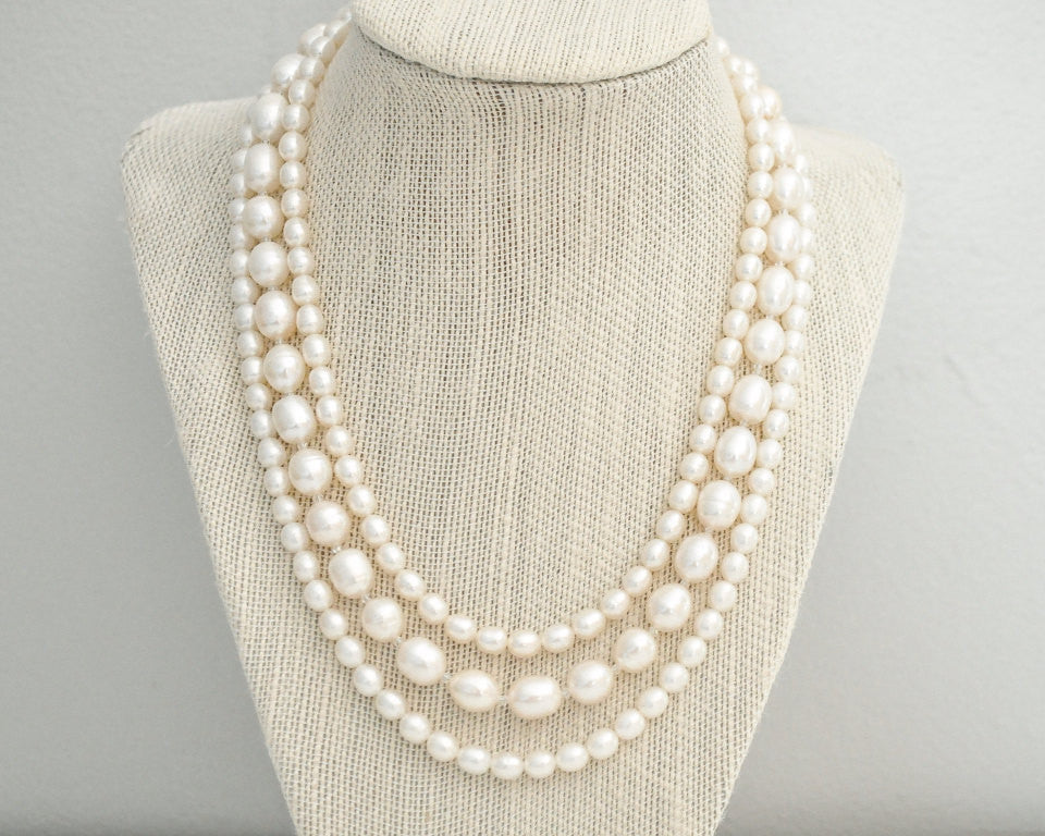 Multi Strand Freshwater Pearl Bridal Necklace - Sarah Walsh Bridal Jewellery - 1