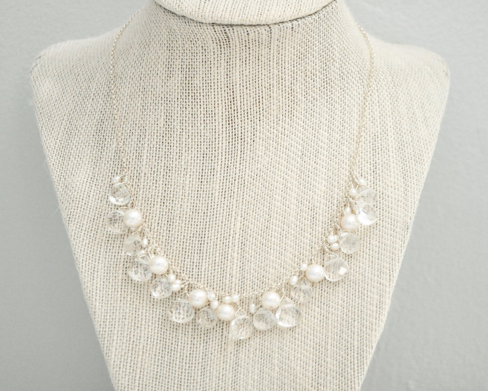 Crystal Quartz & Freshwater Pearl Bridal Necklace - Sarah Walsh Bridal Jewellery - 1