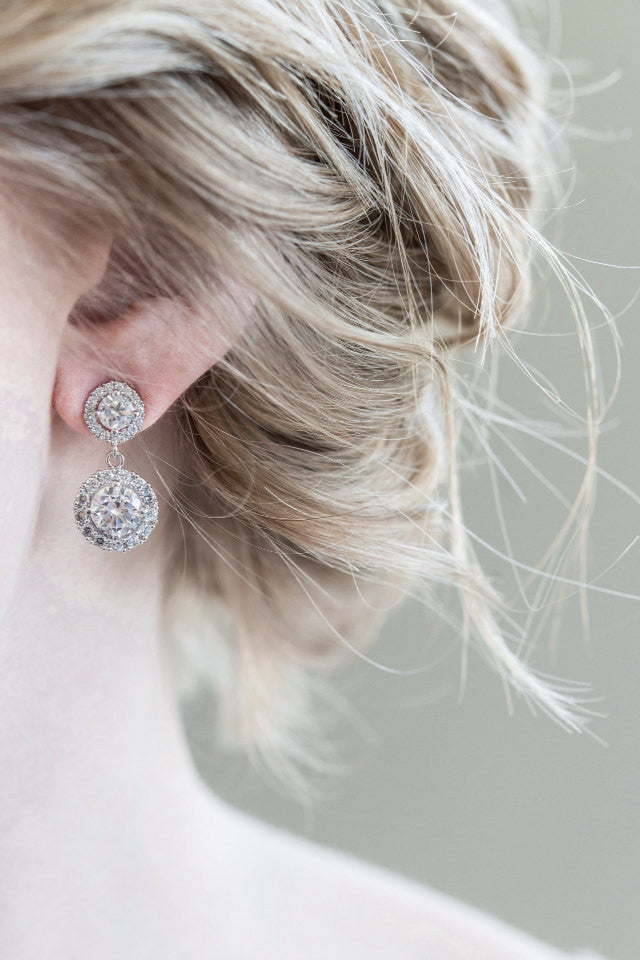 Round CZ Wedding Earrings - Sarah Walsh Bridal Jewellery - 2