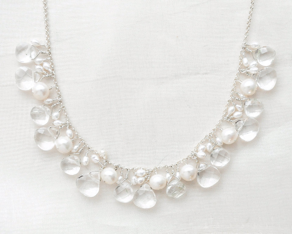 Crystal Quartz & Freshwater Pearl Bridal Necklace - Sarah Walsh Bridal Jewellery - 2