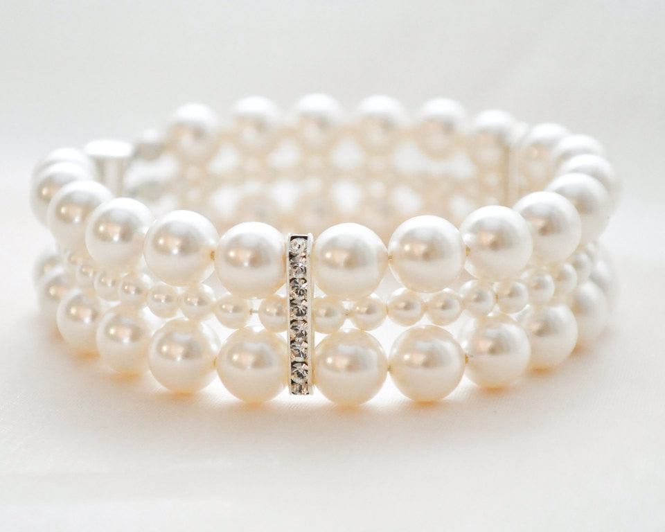 Triple Strand Banded Pearl Cuff Bracelet - Sarah Walsh Bridal Jewellery - 1