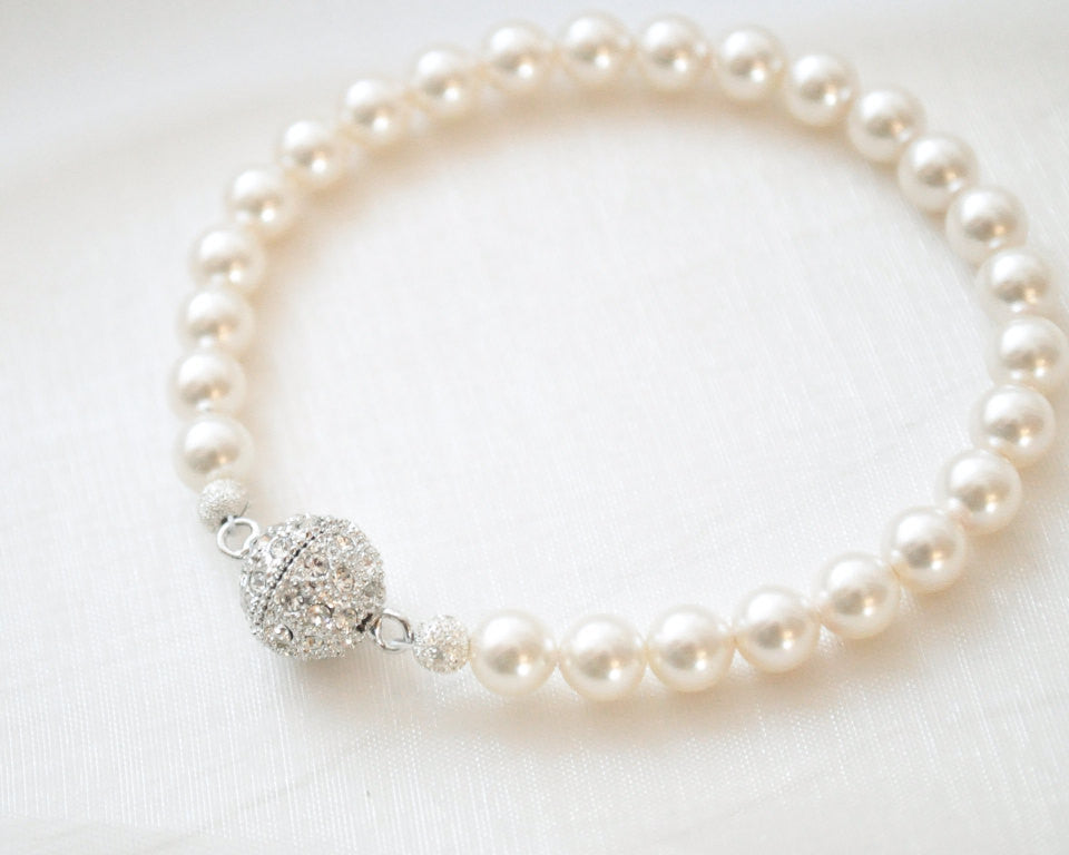 Single Strand Magnetic Clasp Crystal Pearl Bracelet - Sarah Walsh Bridal Jewellery - 1