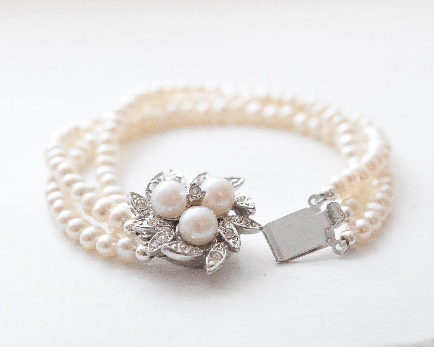 Dainty Freshwater Pearl Cuff Bracelet, with Crystallized Rhodium Box Clasp - Sarah Walsh Bridal Jewellery - 2