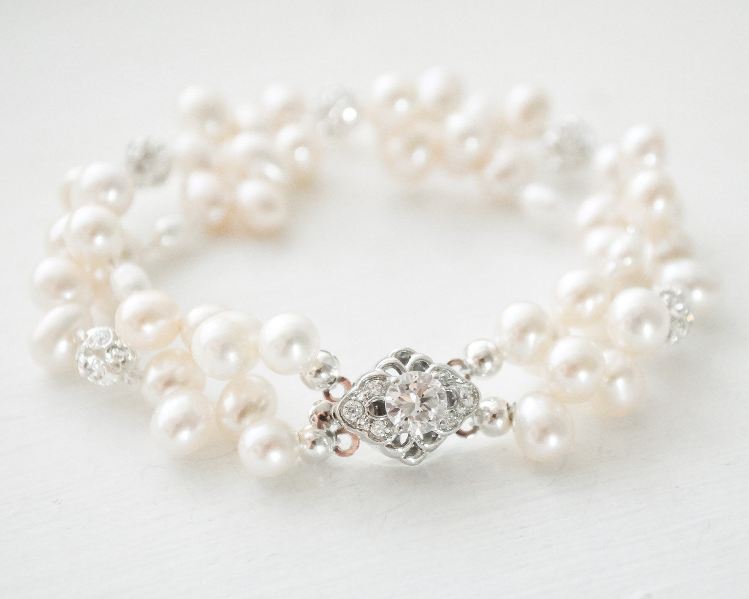 Double-Strand Freshwater Pearl Bridal Bracelet - Sarah Walsh Bridal Jewellery - 1