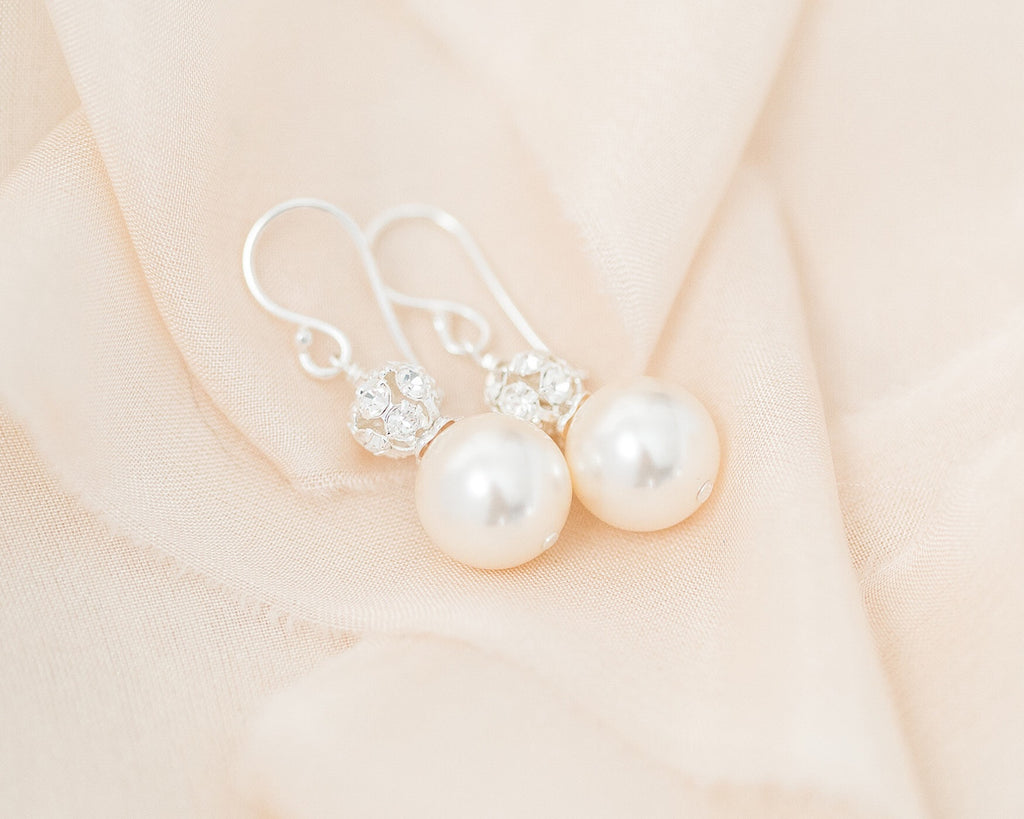 Bridal Crystal Pearl Duo Drop Earrings