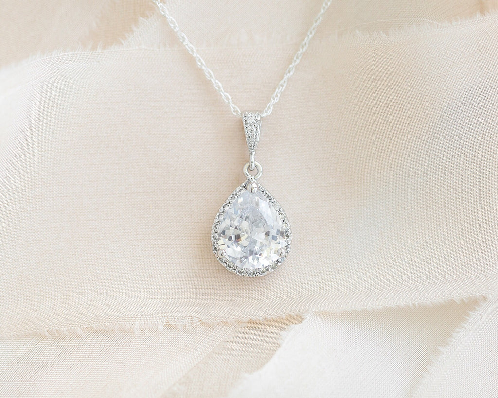 sarah walsh bridal jewellery bridal necklace crystal pendant wedding jewelry