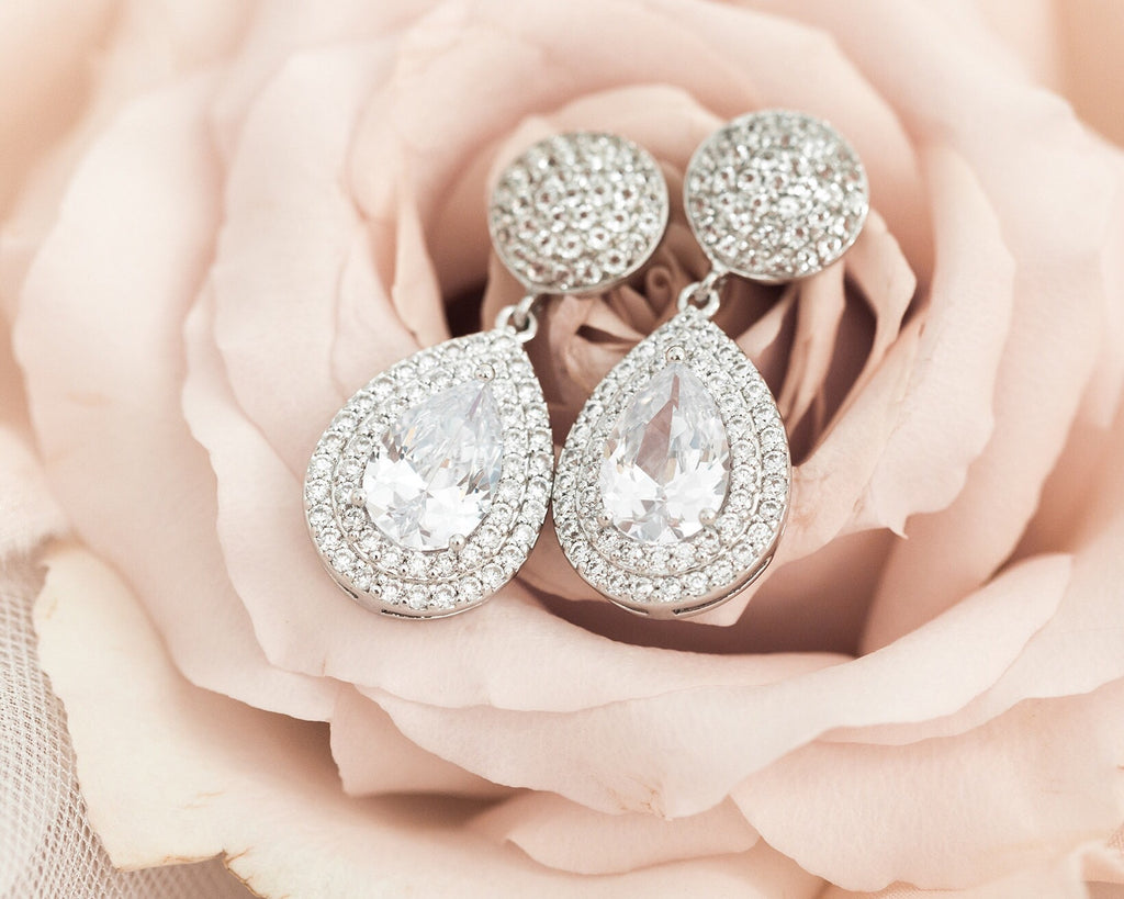 *discontinued - 1 pair left!* Pavé Teardrops