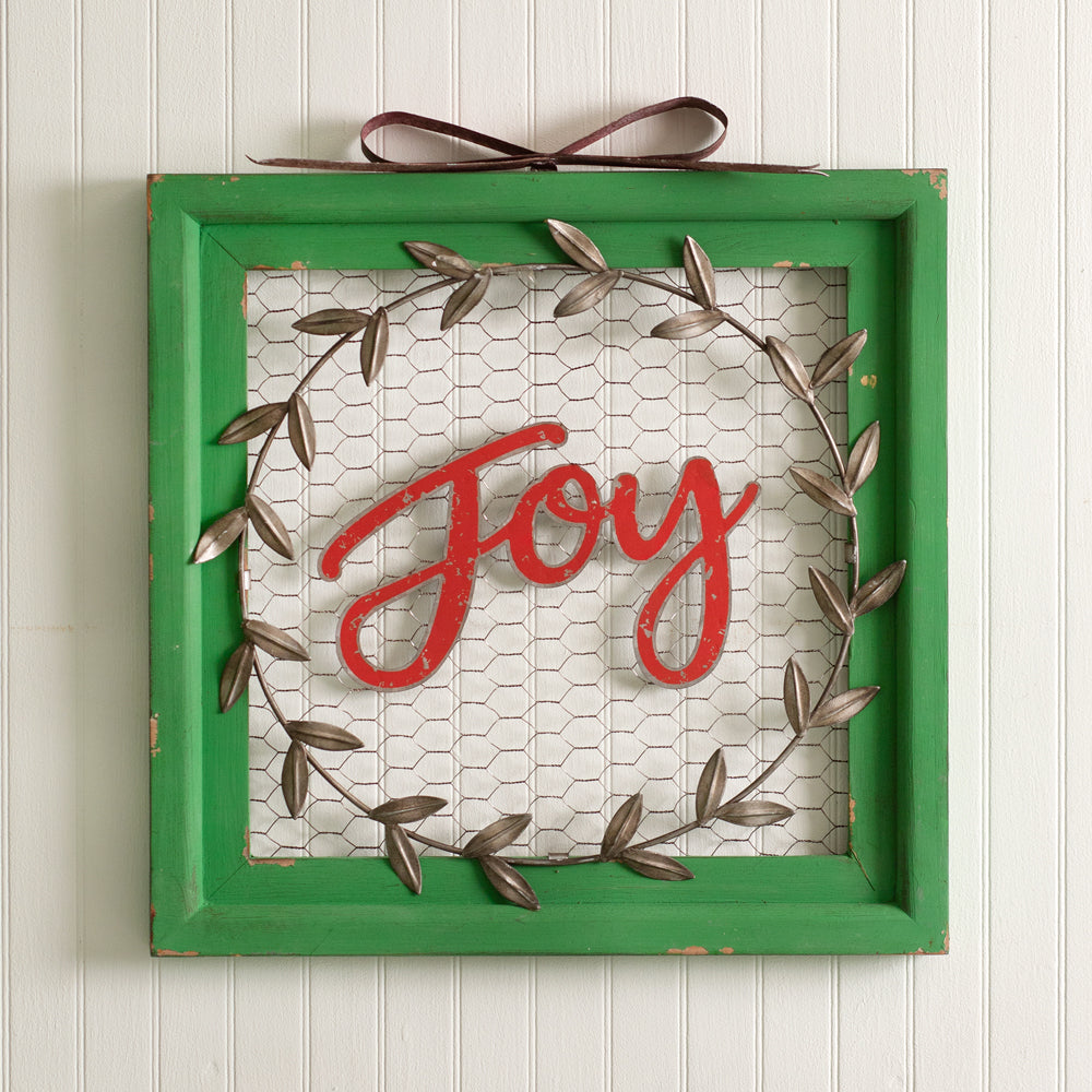 Joy Chicken Wire Wall Sign