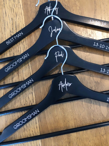 Black Hangers - First Name + Bridal Title + Date