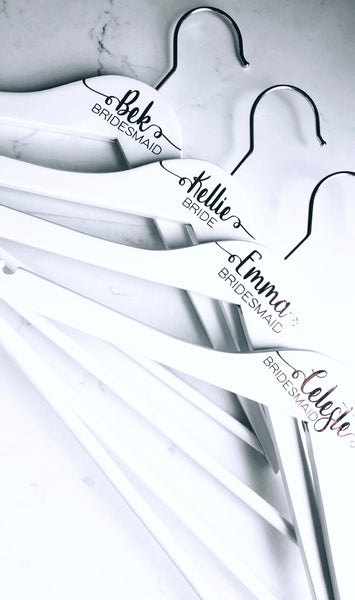 White Hangers - First Name + Bridal Title + Date