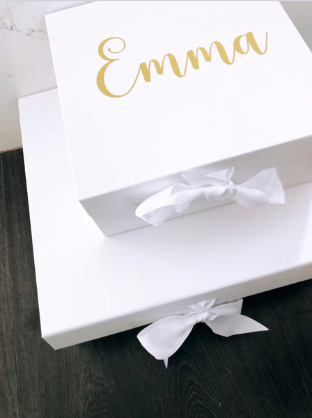 Large White Hamper Box with Ribbon - WITH inner lid Personalisation