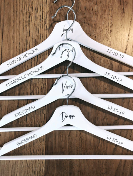 White Hangers - First Name + Bridal Title OR Date