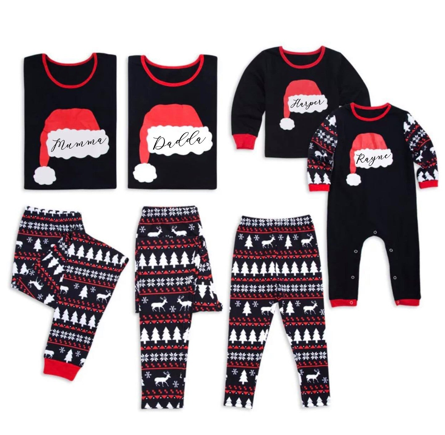 Matching Family Christmas Pajamas - Santa Hat