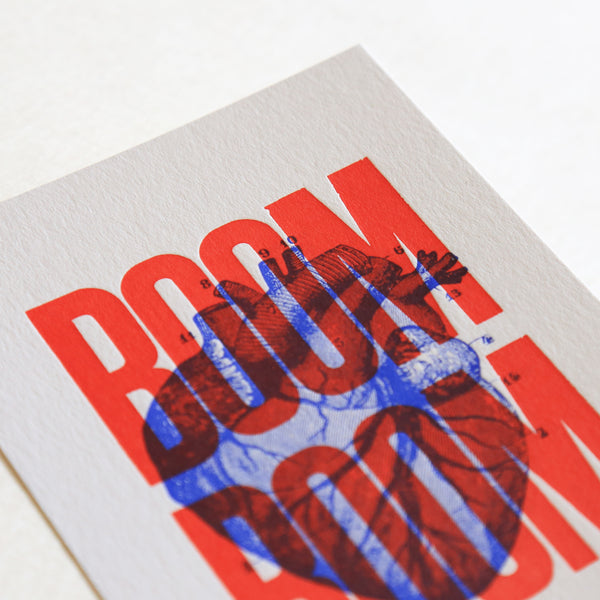 Carte letterpress Boom Boom rouge