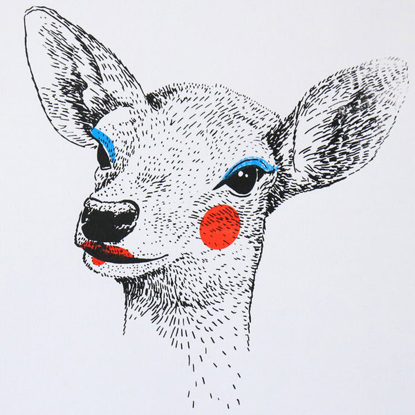 "La biche - Sérigraphie signée - ""Painted Animals"""