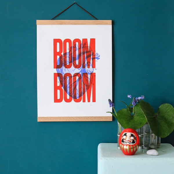 Affiche Boom Boom rouge (A3) - Sérigraphie signée