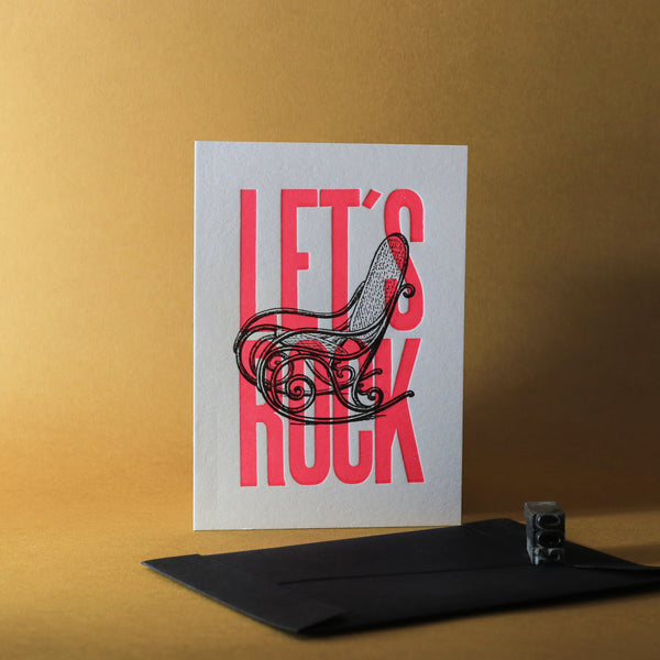Carte letterpress - Let's Rock rose fluo