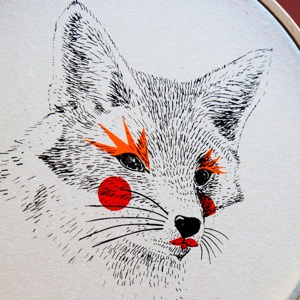 "Le renard - Sérigraphie sur papier japonais et tambour de broderie - ""Painted Animals"" Collection Dream Drum"