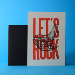 Carte letterpress - Let's Rock rouge